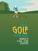 A poster features a female golfer putting a golf ball on the putting green.  The poster promotes a golf tournament.
