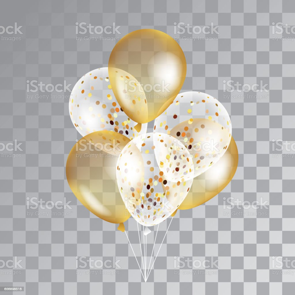 Gold transparent balloons on background. vector art illustration