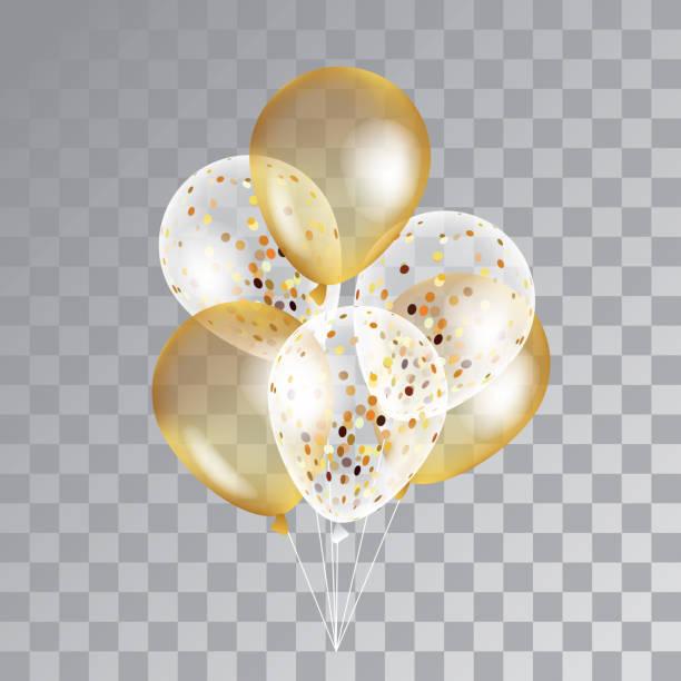 Gold transparent balloons on background. vector art illustration