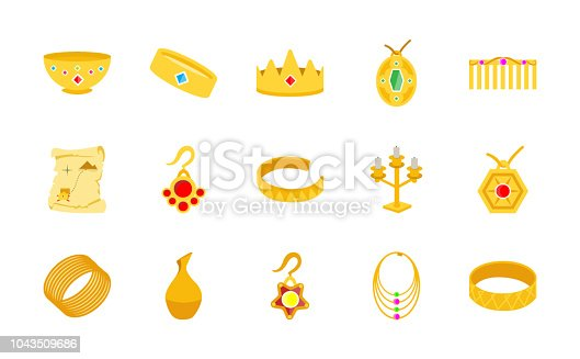 A very creative gold treasure flat icons set is here to catch your attention. This set is having precious gold ornaments and jewelry with the eye catching visuals you will surely like. This treasury pack is accomodating gold cutlery, royal jewelry, crown, gold accessories and many more. Hold this pack and utilize in related projects and assignments.