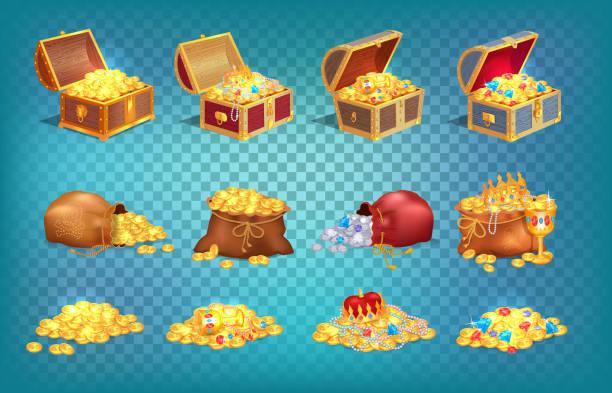 ilustrações, clipart, desenhos animados e ícones de tesouros do ouro no saco de madeira velho da caixa e da tela - antiguidades