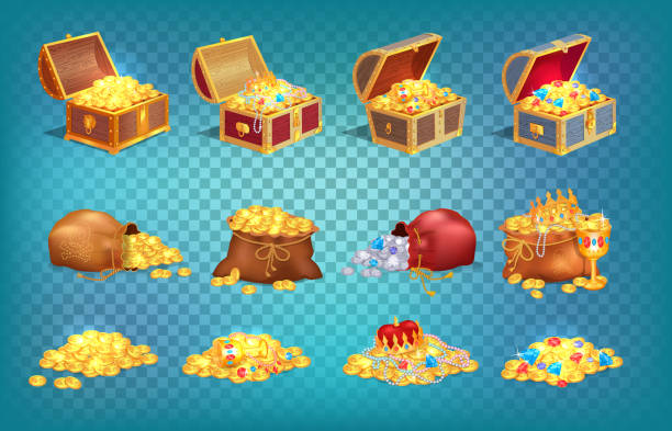 Gold Treasures in Old Wooden Chest and Fabric Bag Gold treasures with expensive diamonds and luxury crowns in old wooden chest and fabric bags isolated vector illustrations on transparent background. antiquities stock illustrations