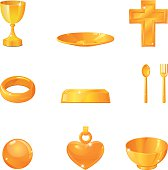 Vector illustration of various gold treasures.