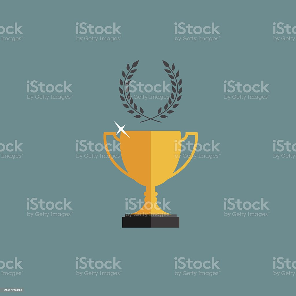 Gold trophy cup winner with a laurel wreath. vector art illustration