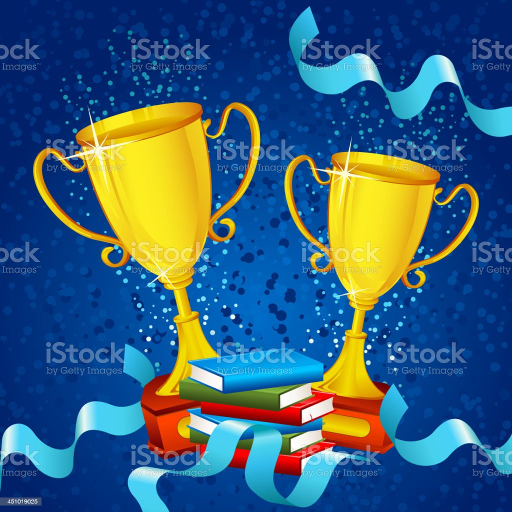 Gold Trophy with Ribbon royalty-free stock vector art