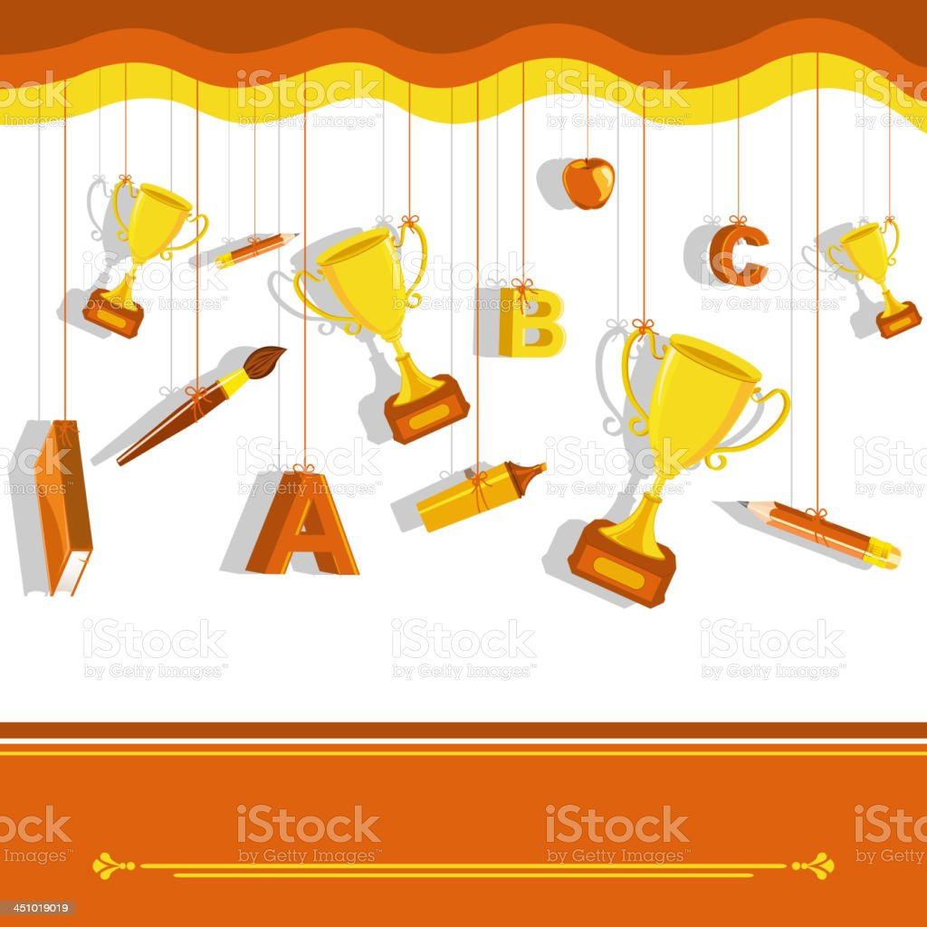 Gold Trophy with School Stationery royalty-free stock vector art