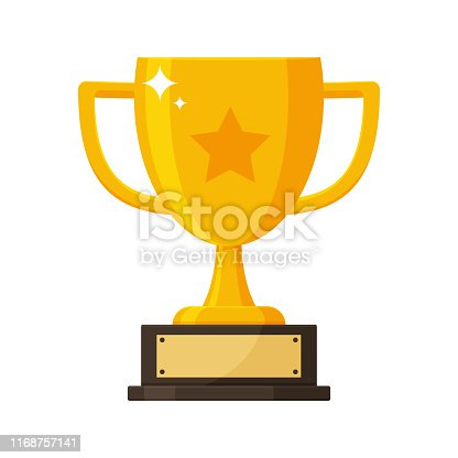 istock Gold trophy with the name plate of the winner of the competition. 1168757141