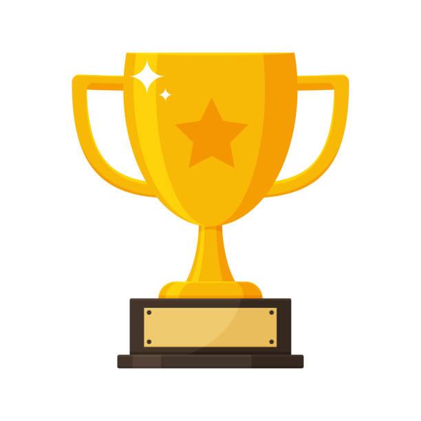 ilustrações, clipart, desenhos animados e ícones de troféu do ouro com a placa de nome do vencedor da competição. - troféu