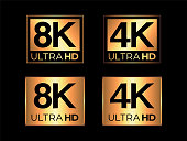 Gold Ultra HD 8K and 4K Sign Set on the Black Background
