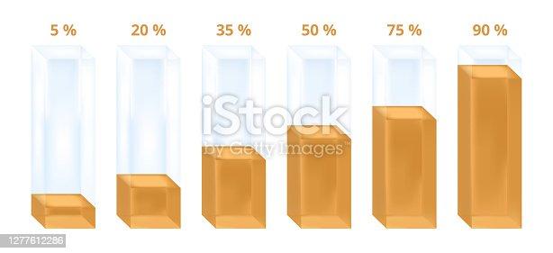 Vector illustration of golden columns sorted in ascending order. Statistical illustration, which is usable in economics, statistics, natural sciences, etc.