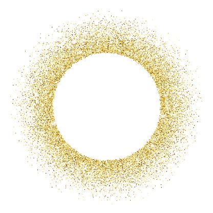 Gold vector glitter circle frame