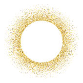Gold vector glitter circle frame