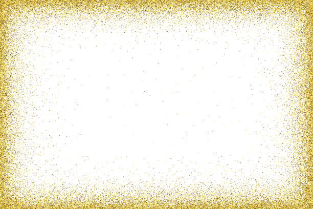 Gold vector glitter frame An empty golden frame for use as a design element. christmas borders stock illustrations