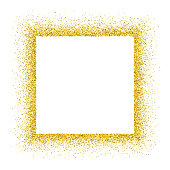 An empty golden frame for use as a design element.