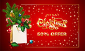 Gold Vector hand drawn lettering text Merry Christmas. 3d Shopping bag, spruce fir branche, xmas Sales offer advertising