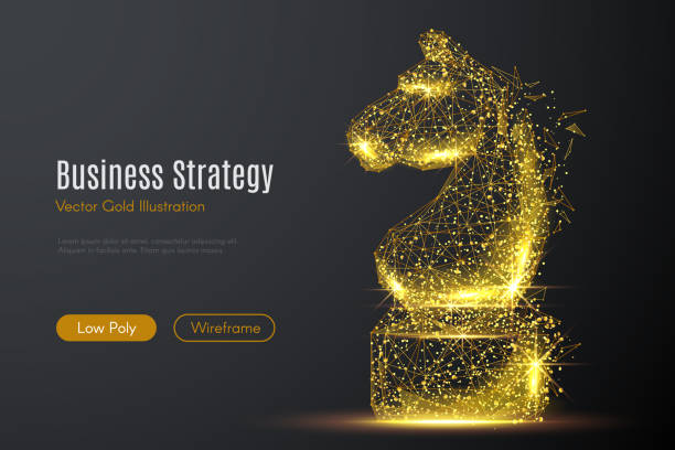CHESS HORSE LOW POLY gold Low poly illustration of the CHESS HORSE with a golden dust effect. Sparkle stardust. Glittering vector with gold particles on dark background. Polygonal wireframe from dots and lines. chess knight silhouette stock illustrations