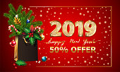 Gold Vector text Happy New Year, 3d golden digits 2019, advertising sale offer. 3d xmas Shopping bag, spruce fir branche