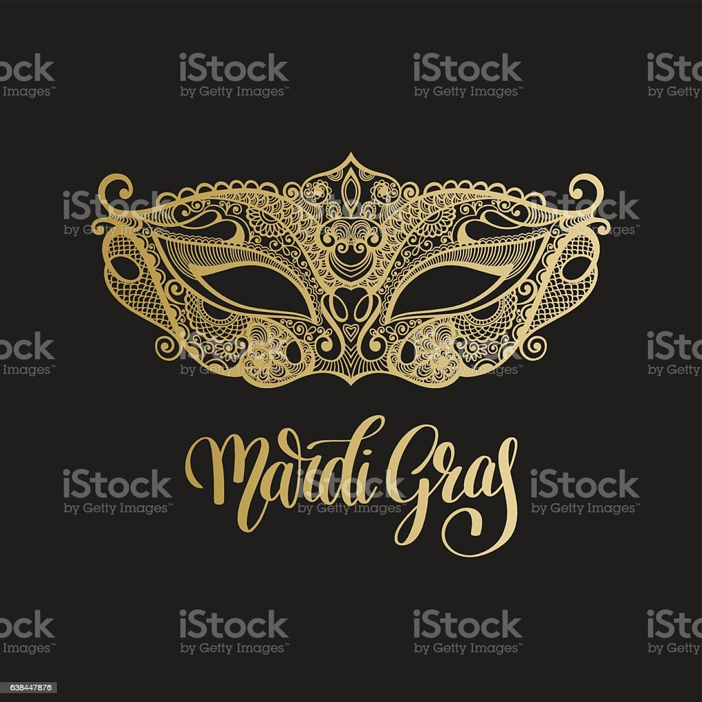 gold venetian carnival mask with hand lettering isolated on blac vector art illustration