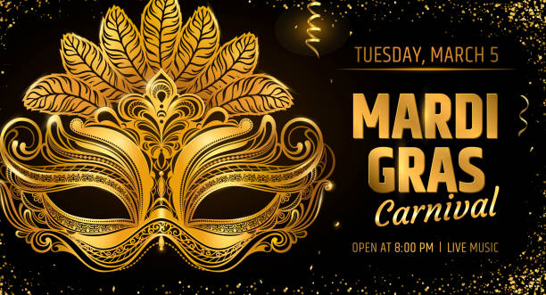 Gold venetian mask. Carnival Party invitation card template. Spring holidays. Vector illustration EPS10. Gold venetian mask. Carnival Party invitation card template. Spring holidays. Vector illustration EPS10. mardi gras stock illustrations