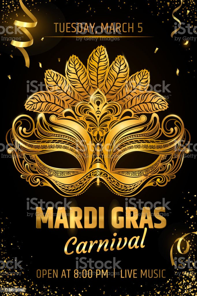 Gold Venetian Mask Carnival Party Invitation Card Template