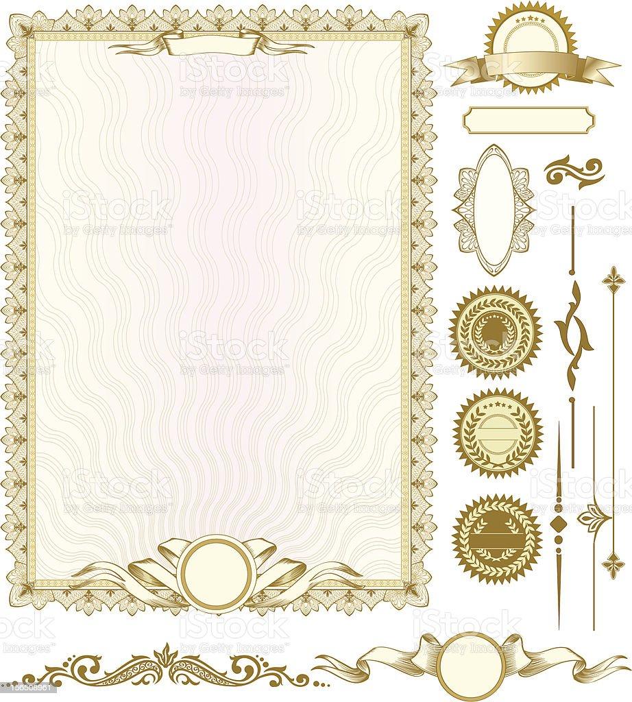 Gold Vertikale Zertifikat Vorlage Mit Zusätzliche Designelemente ...