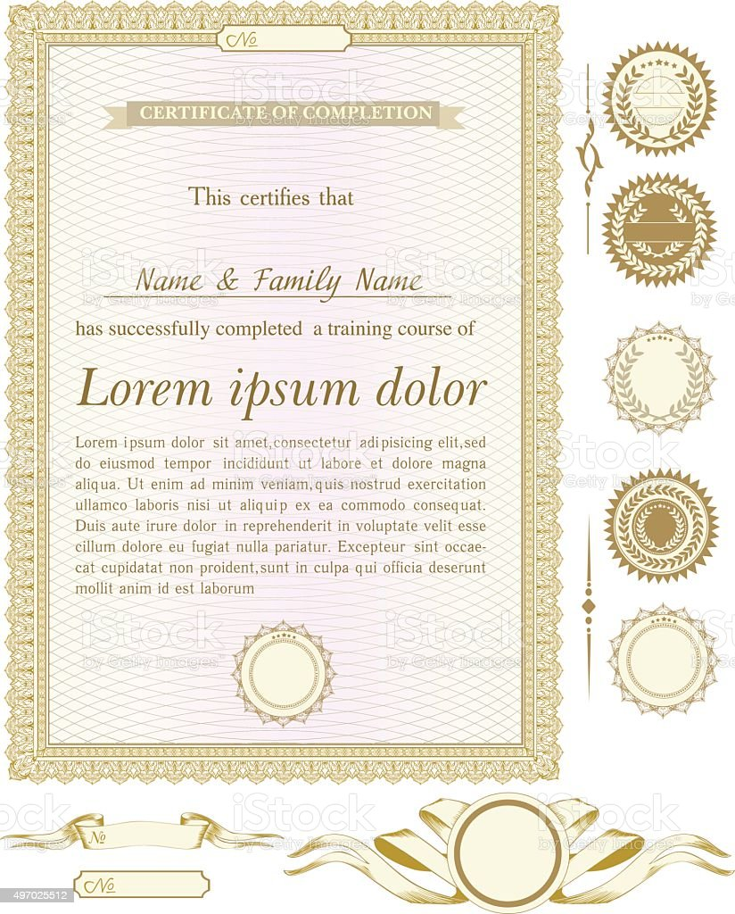 Gold Vertical Certificate Template With Additional Design Elements