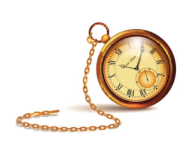 Gold vintage clock. vector art illustration