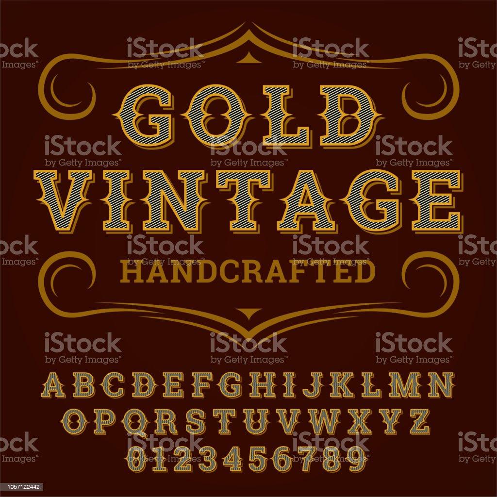 Gold Vintage Font Old Style Vintage Script Font Vector