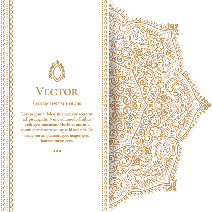 Gold vintage greeting card on a white background. Luxury ornament template. Mandala.