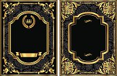 AI EPS 8.  Set of two vintage style labels with gold scroll frames and damask details.  Damask pattern swatch is already in the swatches panel for easy use.  Colors are just a few global swatches, so file can be recolored easily.  Each label is grouped separately for easy editing.