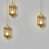 Gold vintage luminous lanterns. Arabic shining lamps. Isolated hanging realistic lamps. Effects transparent background.