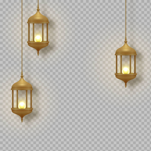 Gold vintage luminous lanterns. Arabic shining lamps. Isolated hanging realistic lamps. Effects transparent background. Gold vintage luminous lanterns. Arabic shining lamps. Isolated hanging realistic lamps. Effects of transparent vector background lantern stock illustrations