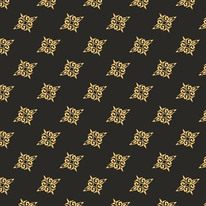 Gold vintage ornament seamless pattern. Retro victorian floral tracery ornament baroque decorative.