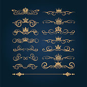 Gold vintage ornaments, vector image