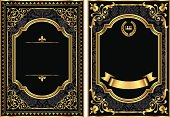 Set of two vintage style scroll frames with gold and damask details.  Damask pattern swatch is already in the swatches panel for easy use.  Colors are global, so they can be modified easily.  File is layered for easy editing.