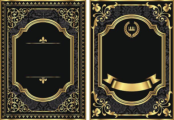 골드 빈티지 스크롤하다 프레임 - 왕족 stock illustrations