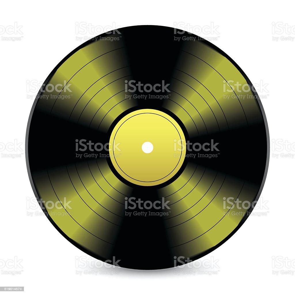 Gold vinyl record vector art illustration