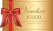 Gold decorated thousand dollar gift voucher.
