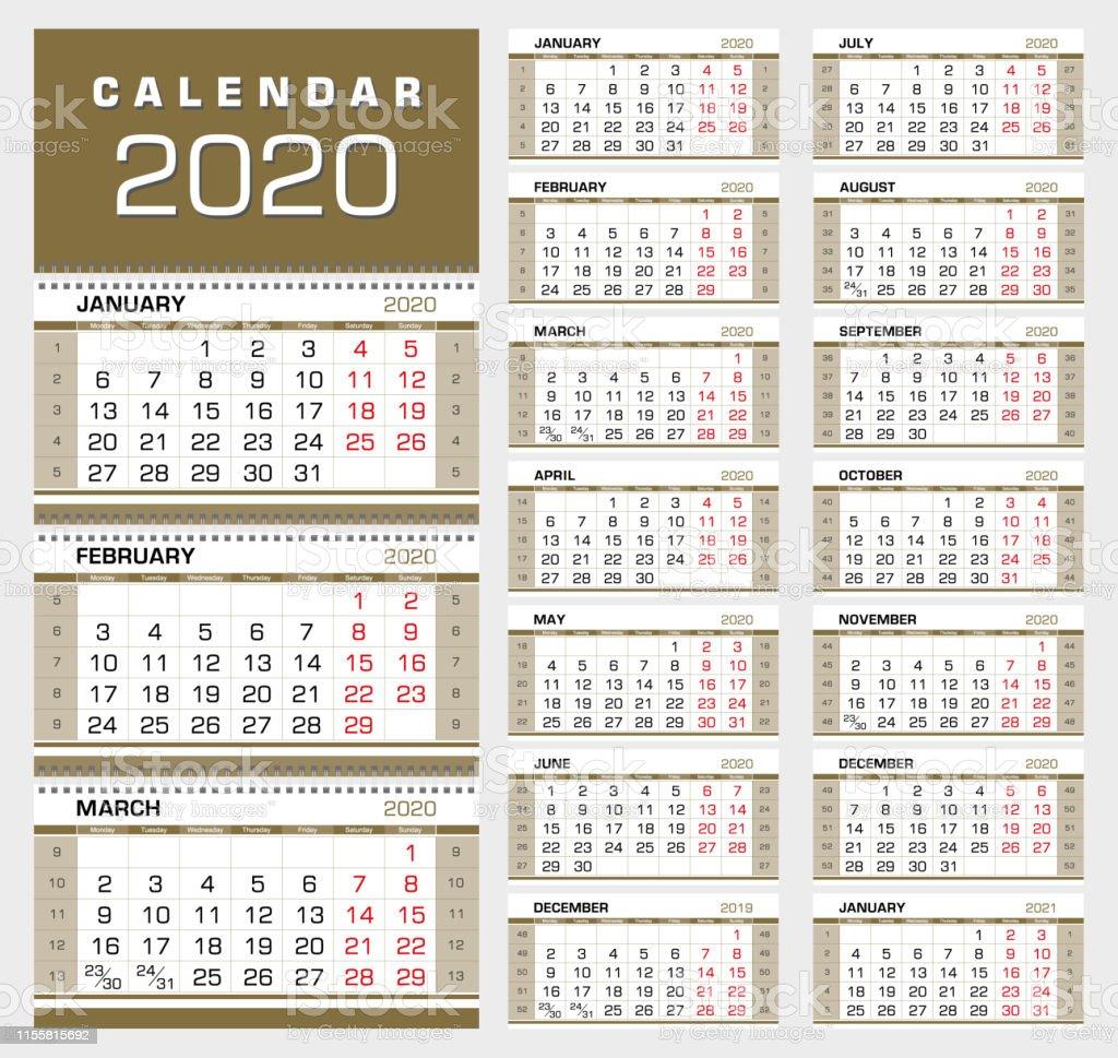 Calendrier 1er Trimestre 2020.Mur Dor Trimestre Calendrier 2020 La Semaine Commence A