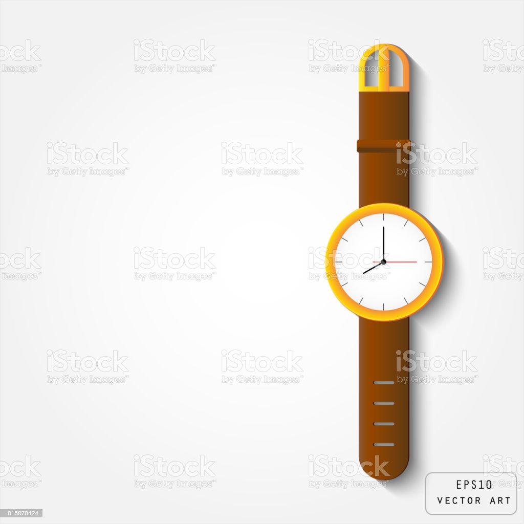 Gold watch with leather strap vector art illustration
