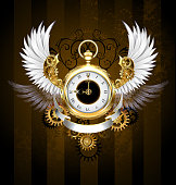 Gold watch with white wings