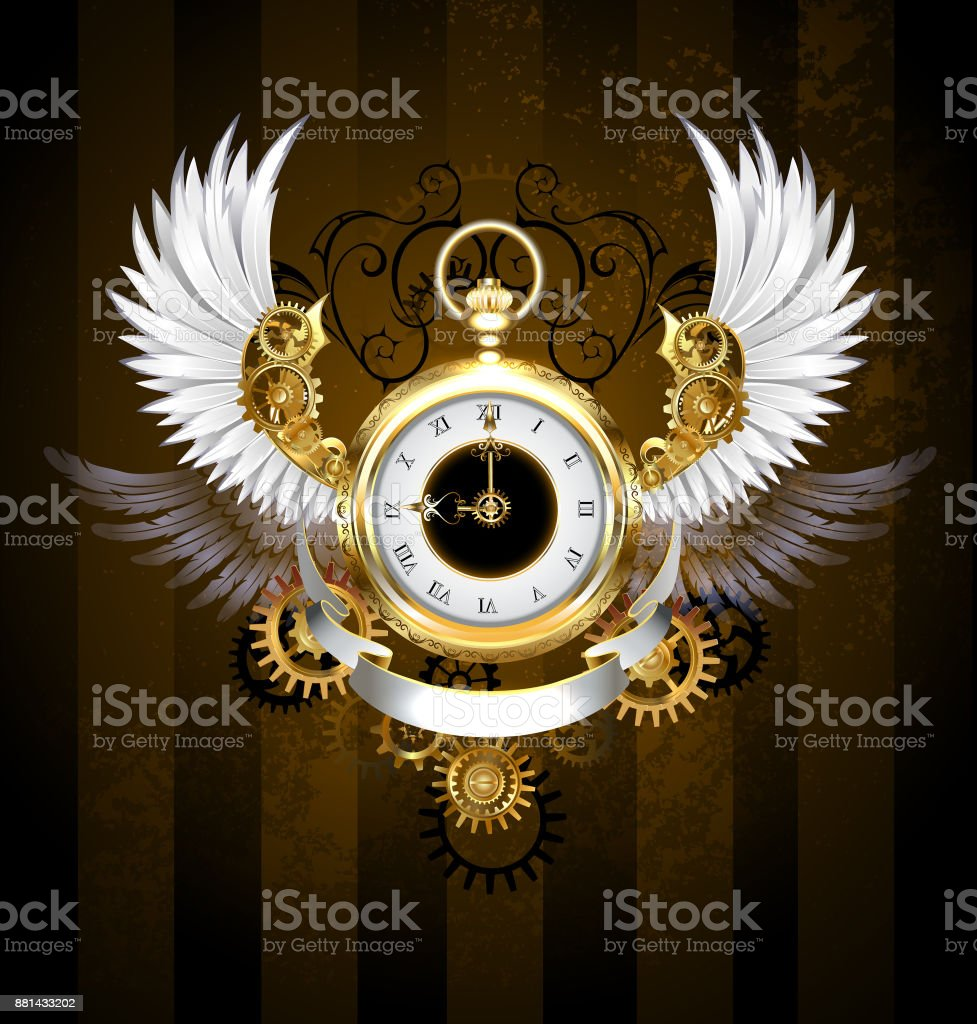 Gold watch with white wings vector art illustration