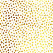 White square watercolor paper card filled by tiny triangular shapes painted in gold watercolor paint. Card filled by tiny arrows.  Seamless pattern in vector full of imperfections. Zoom to see the details! Vector file - enlarge without lost the quality. Great design for Christmas card design, wrapping papers etc.