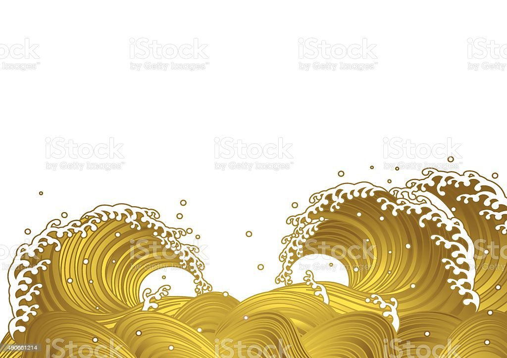 gold wave.Japaneses tyle vector art illustration