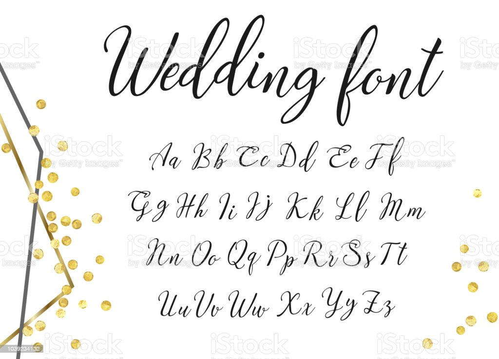 Gold Wedding Font Stock Vector Art More Images Of Alphabet