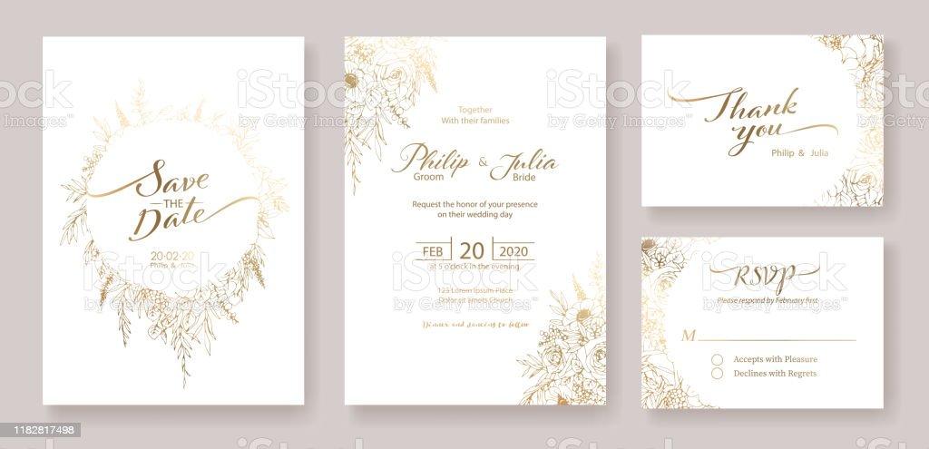 Fonkelnieuw Gouden Bruiloft Uitnodiging Behalve De Datum Dank U Rsvp Kaart AI-29