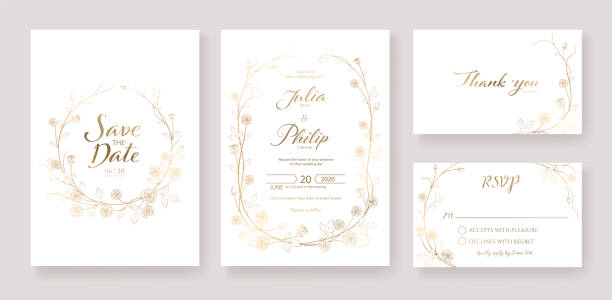 Gold wedding Invitation, save the date, thank you, rsvp card Design template. Vector. Rose flower. Gold wedding Invitation, save the date, thank you, rsvp card Design template. Vector. Rose flower. vector. anniversary borders stock illustrations