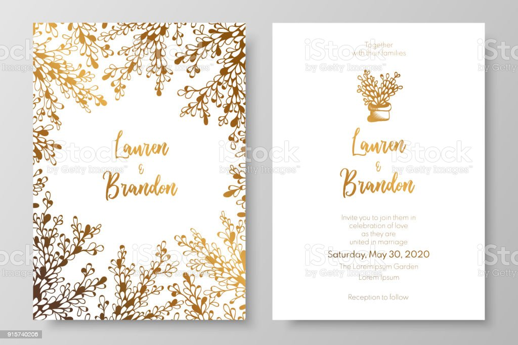 Gold wedding invitation templates gold cards with abstract white gold wedding invitation templates gold cards with abstract white plants a luxurious tepmlates for stopboris Image collections