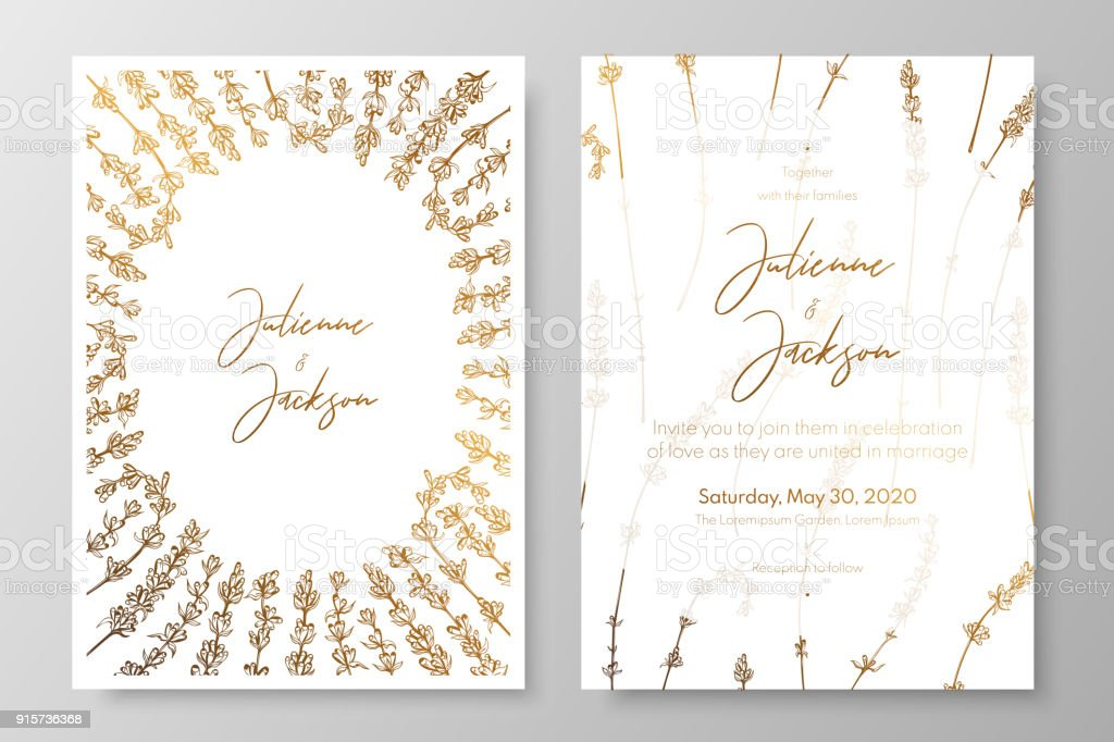 Gold Wedding Invitation With Lavenders Gold Cards Templates For Save ...