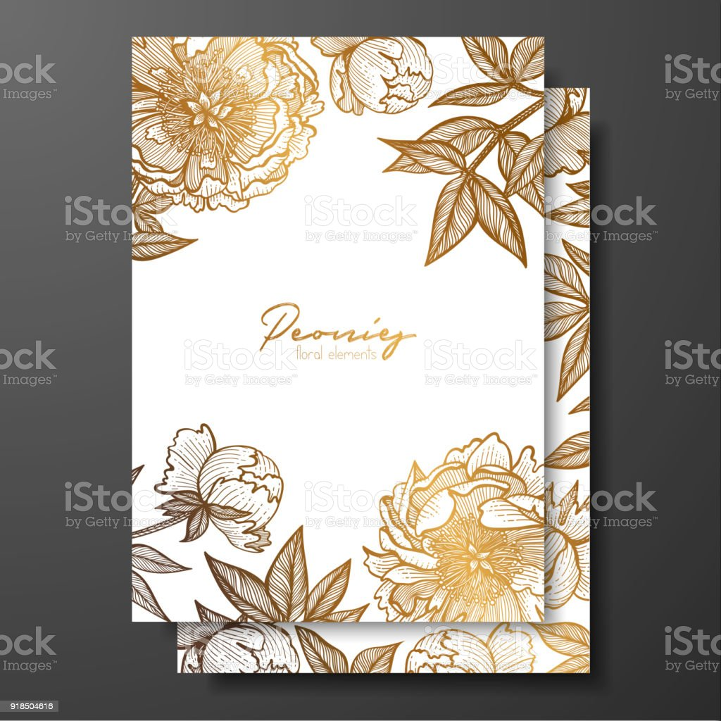 gold wedding invitation with peonies buds and leaves gold cards